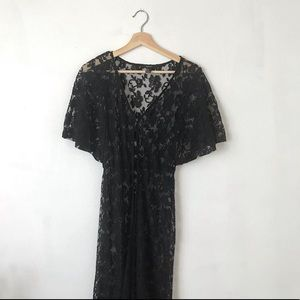 Forever 21 black lace sheer maxi dress